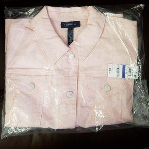 Charter club denim jacket NEW X Large Misty Pink